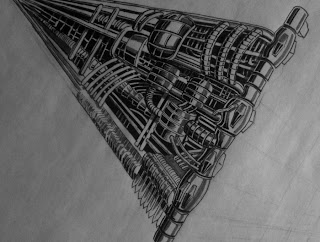 an ink pen drawing of a mechanical structure by TonyMark