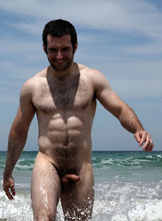 hairly man in beach naked