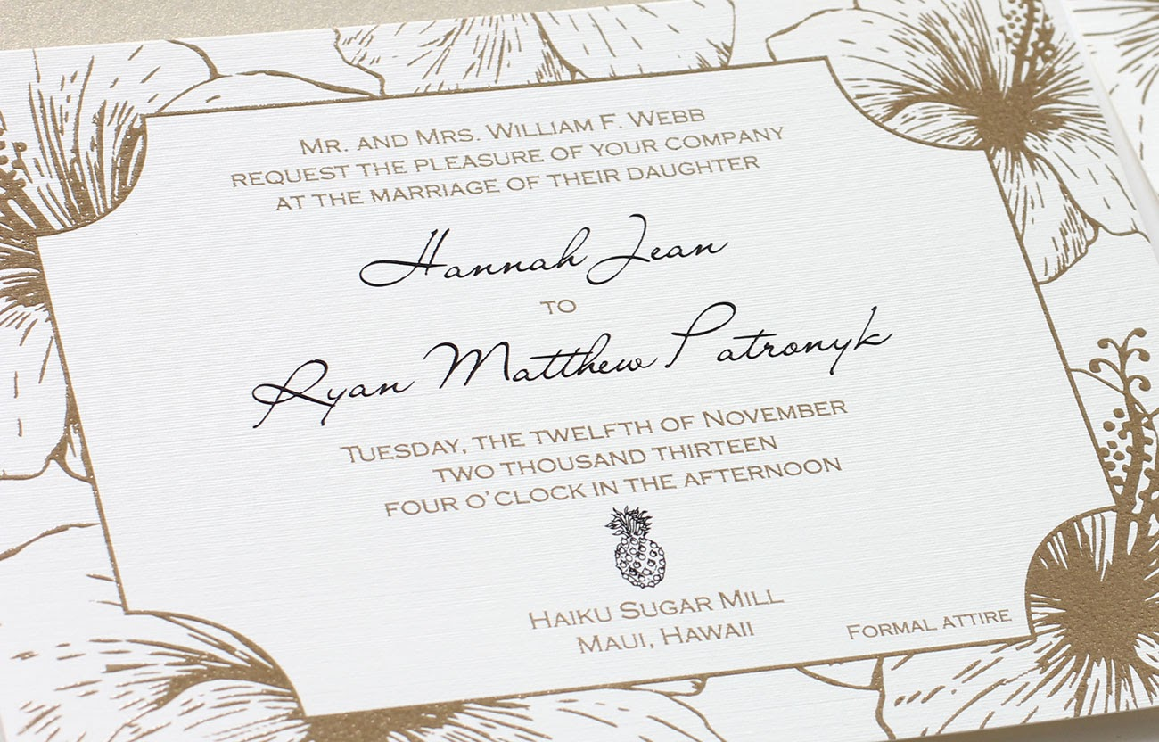 Hawaiian Wedding Invitation: Metallic Gold & Black Thermography ...
