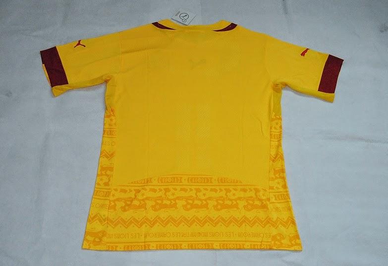 Kostum Jersey Piala Dunia Terbaru Timna Cameroon Away 2014 Warna Kuning Semi Batik