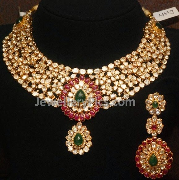 Heavy floral model  polki necklace