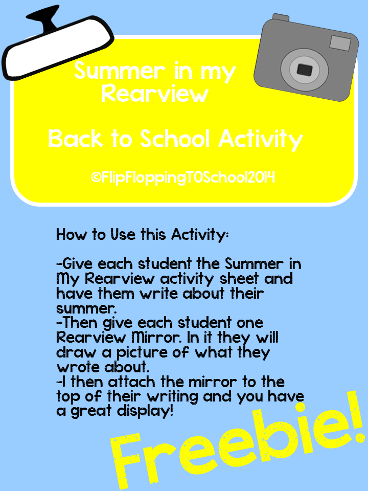 http://www.teacherspayteachers.com/Product/Summer-in-My-Rearview-Back-to-School-Activity-1288433