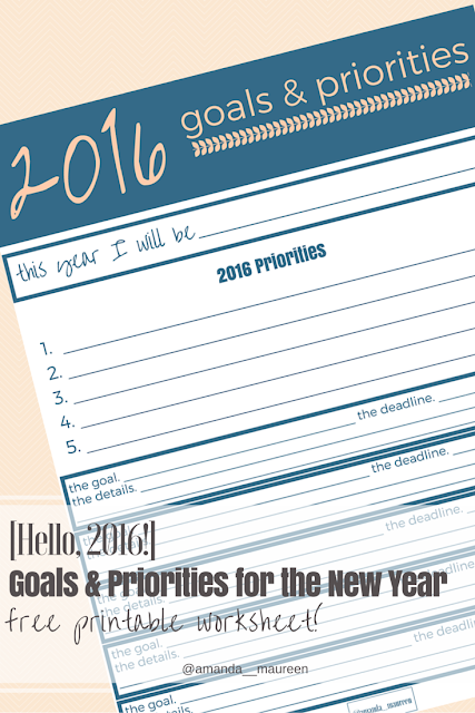 Goal Setting Worksheet, 2016, New Year, Goals, Priorities
