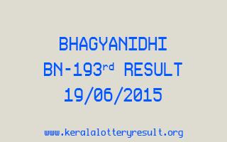 BHAGYANIDHI BN 193 Lottery Result 19-6-2015