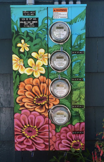 painted electrical panels, street art portland, pdx street art, portland muralist, portland murl artist, flower mural