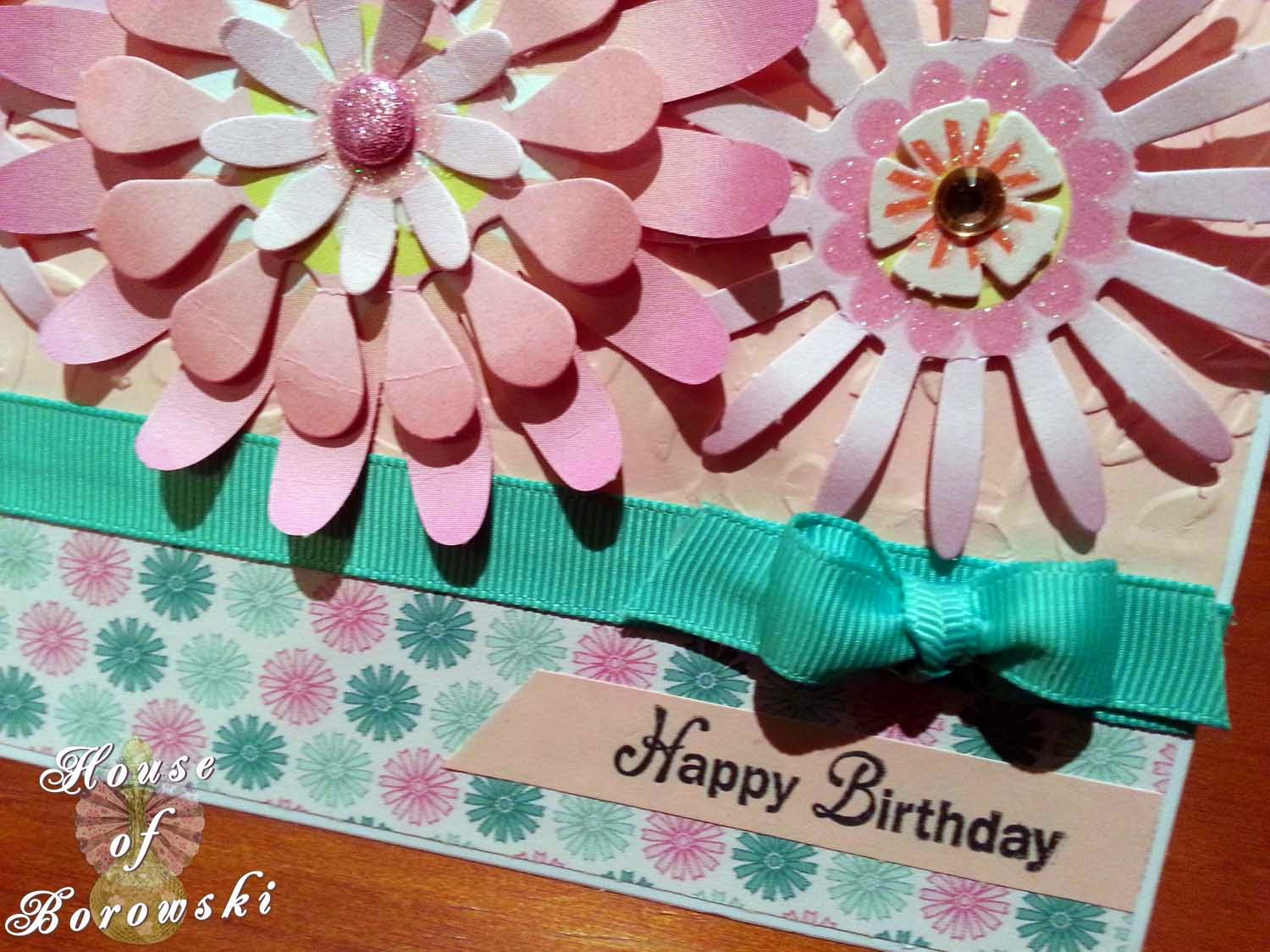 Perfectly Rustics,HOB, K&Company paper flowers,cuttlebug victoria embossing folder, kaisercraft ribbon