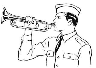 Soldado tocando la trompeta para colorear