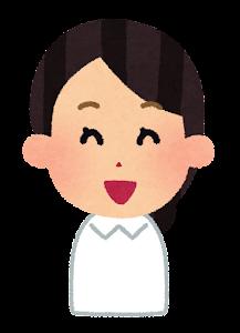 ナースキャップのない女性看護師のイラスト「笑い顔」