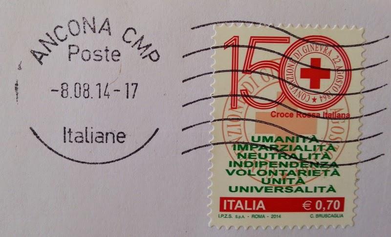 Francobollo celebrativo della Croce Rossa Italiana, nel 150° anniversario dell'istituzione
