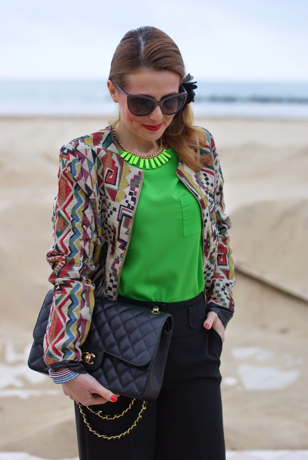 Chanel 2.55 classic flap bag, Paramita jacket, bomber jacket, Moliabal elastico capelli, palazzo pants, Lunatic pantaloni, sided ponytail, Fashion and Cookies fashion blog, fashion blogger
