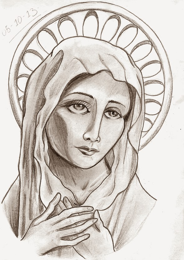 Line Drawing Virgin Mary : The gallery for gt virgin mary outline drawing