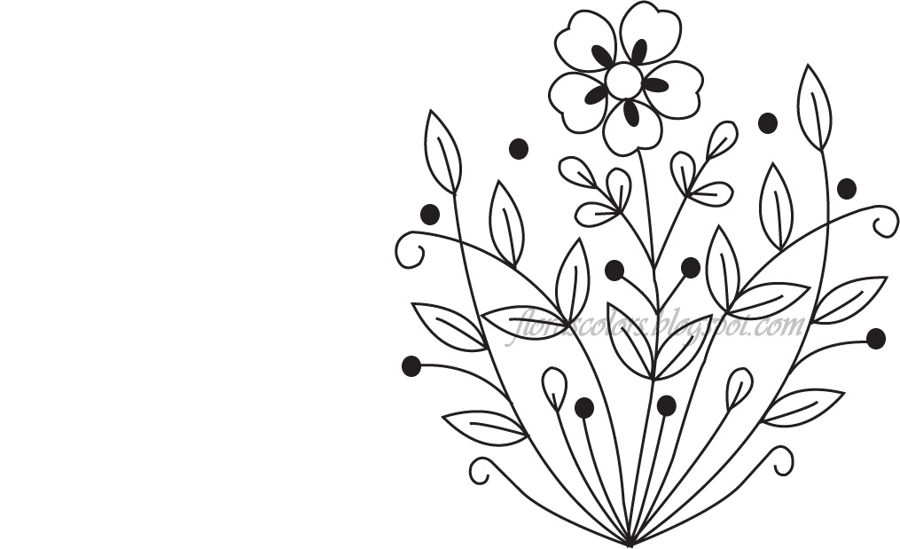 Floras Colors Free Hand Embroidery Pattern Flower And Leaves