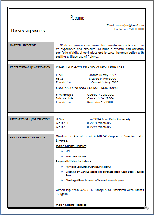 resume database resume sle of ca cwa fresher