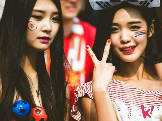 Beautiful Korean girl watching the World Cup 2014 - b