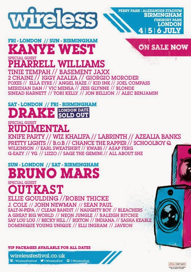 Tinie Tempah, Labrinth, Robin Thicke, Sean paul, Naughty Boy, acts headlining wireless festival 2014, non camping festival, twitter addicts, wireless festival birmingham 2014, Wireless Festival Line Up Announcement March 25th 2014, wireless festival london,
