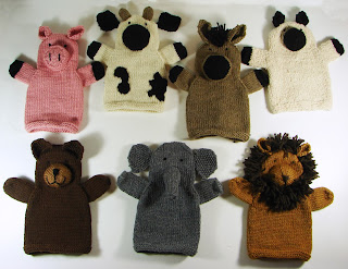 hand knit hand puppets toy animals farm lion elephant bear pig cow horse sheep