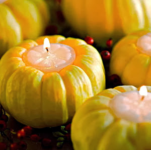 mini pumpkin candle decor