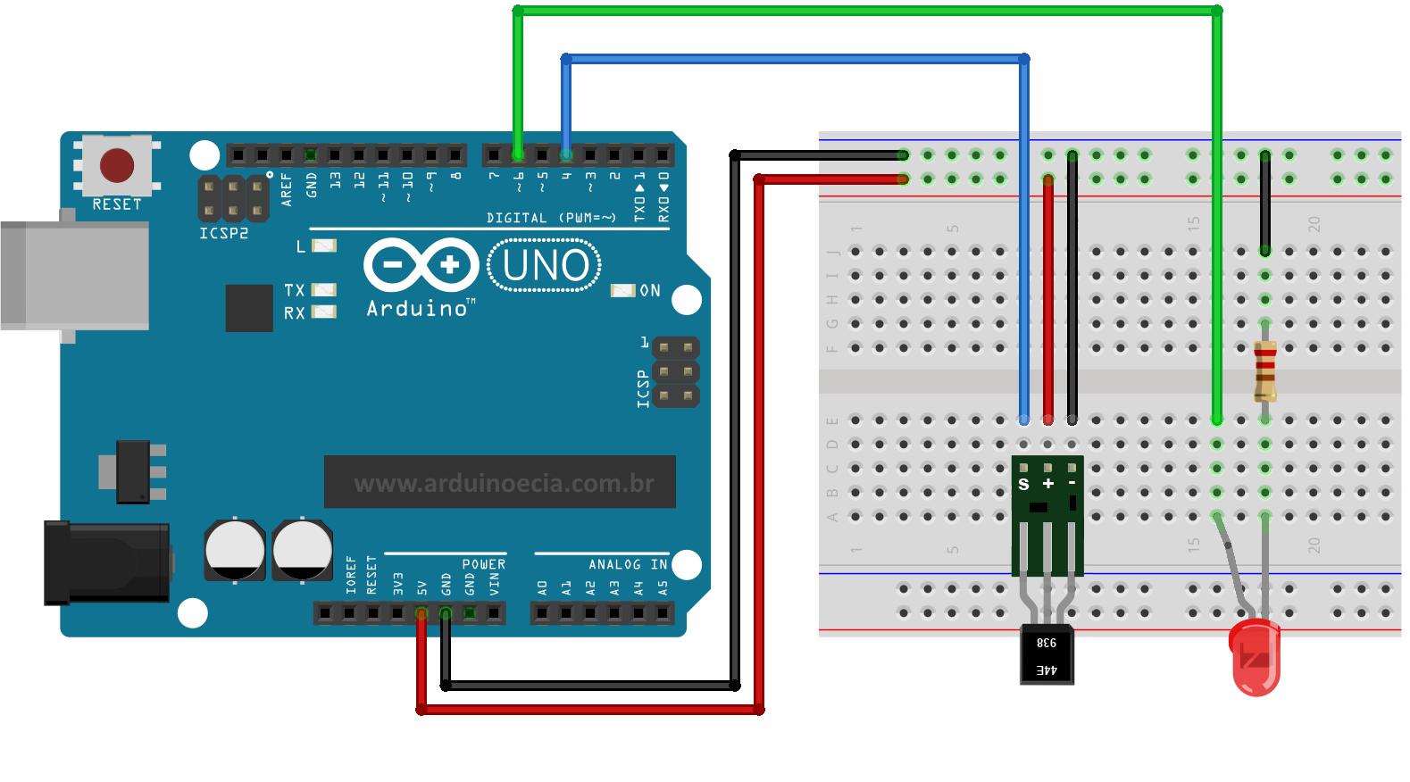 Circuito Arduino e sensor hall KY-003