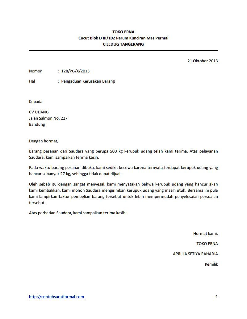contoh surat pengaduan resmi berita hari ini
