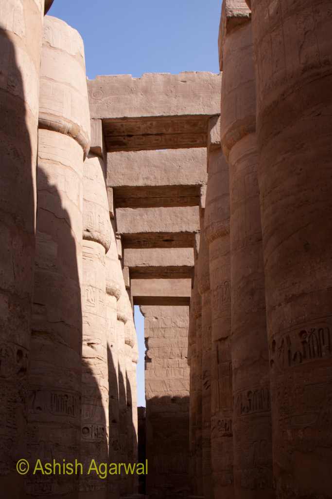 Pillars of the Hypostyle Hall in Karnak temple covered by architraves