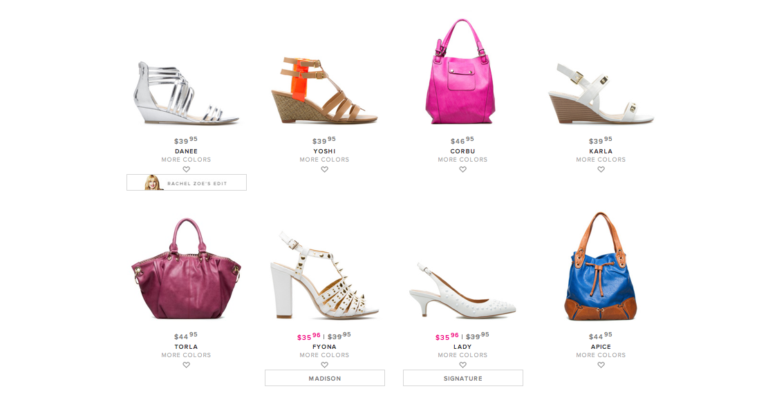 0114f735673 ShoeDazzle also offers some beautiful purses and other accesories. I really  like these bright leather bags that they put ...