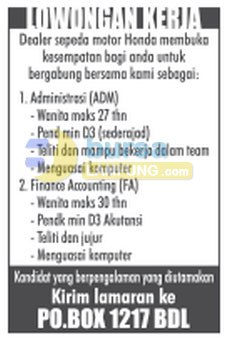 Lowongan ADMIN & Accounting Oktober 2014
