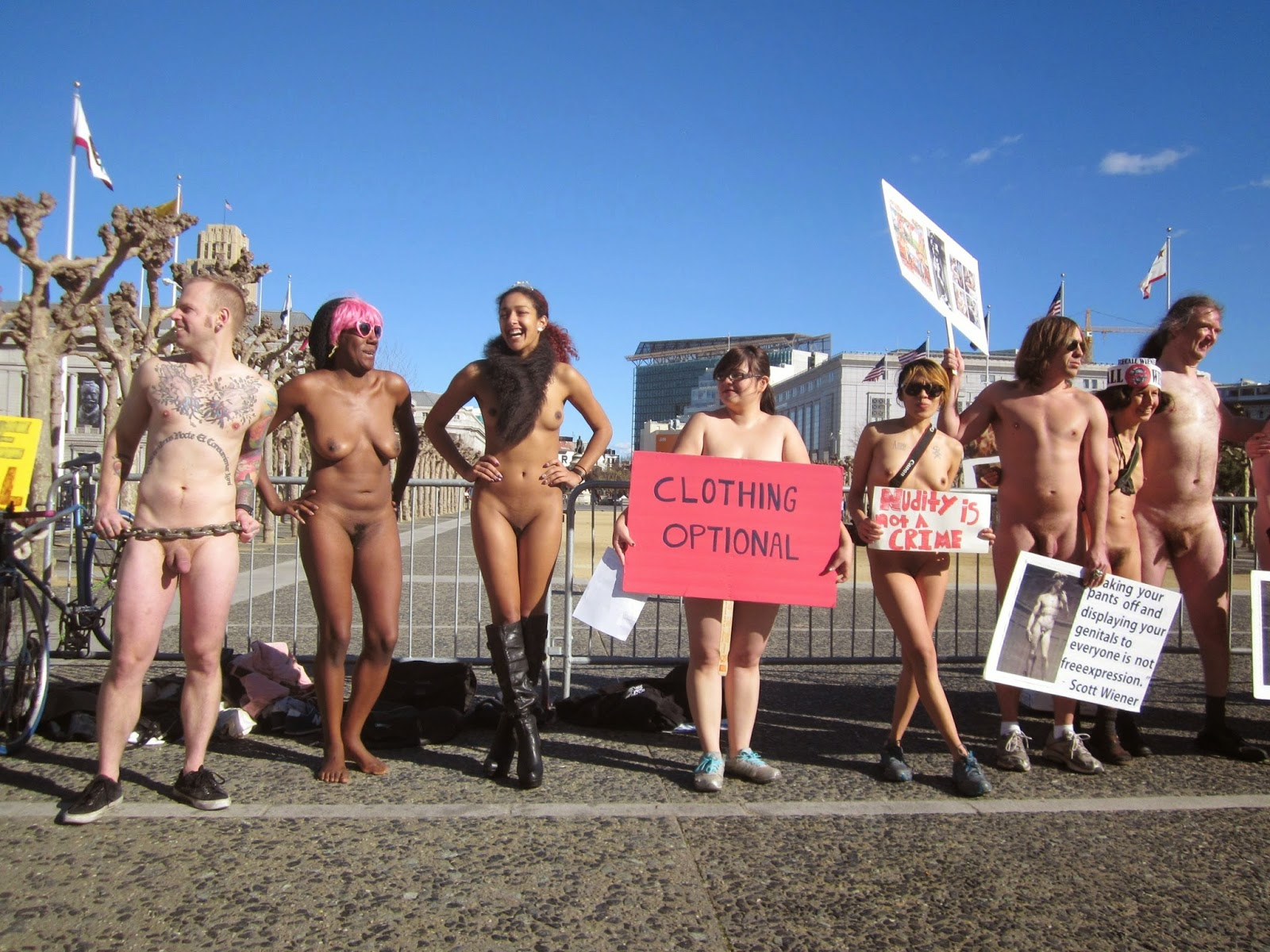Protesting the nudity ban in San Francisco