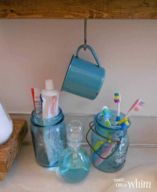 Mason Jar Toothbrush Station, Enmelware Mug and Mouthwas in Glass Jar | Vintage Farmhouse Bathroom Makeover | Denise on a Whim