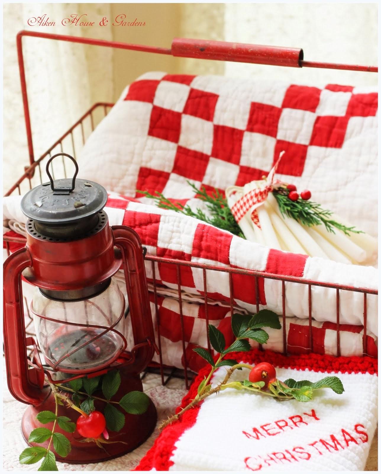 Aiken House & Gardens: More Red & White Kitchen Touches