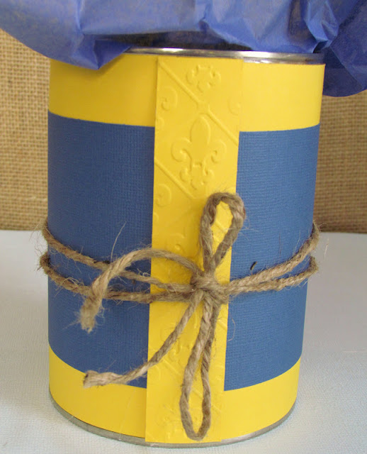 Up cycled Coffee Can for Cub Scout Blue and Gold