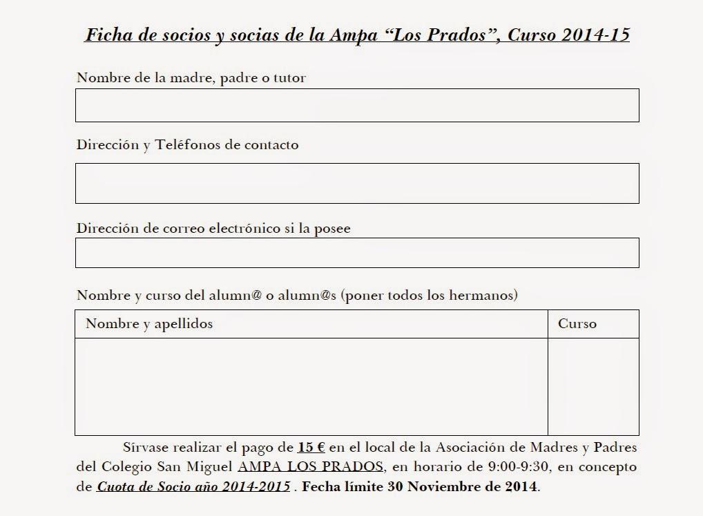 Ficha socios y socias AMPA Los Prados curso 2014/15
