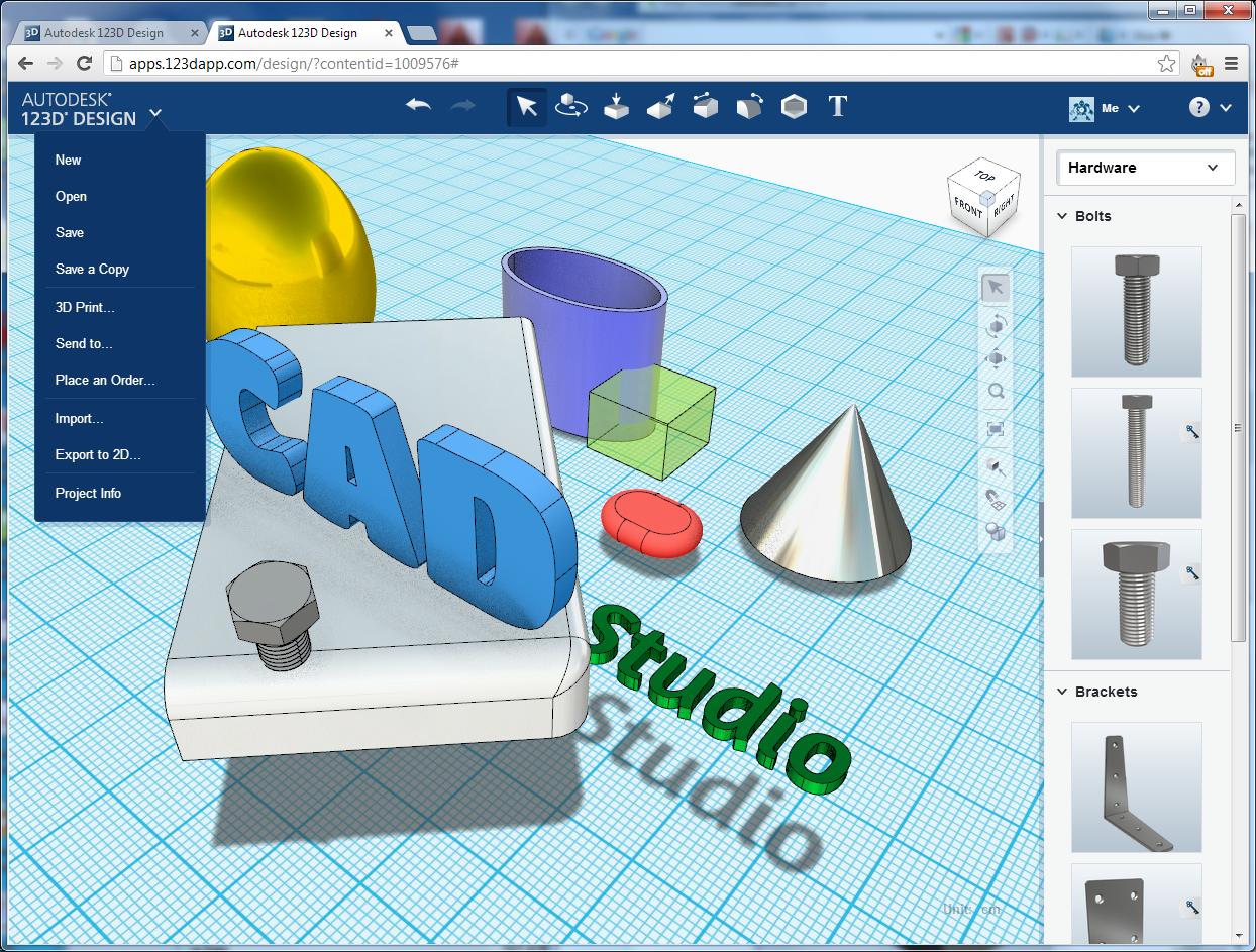 Cad studio blog nov online verze model e autodesk 123d 123d cad
