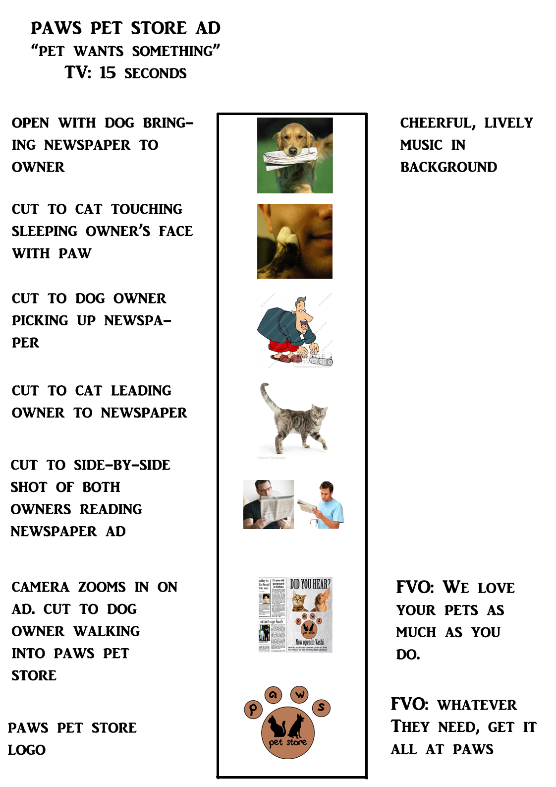 paws pet store tv storyboard