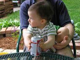 Baby with Beer Can