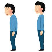 姿勢の悪い人・良い人のイラスト(男性)