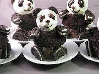 Madalenas con oreo con forma de oso panda