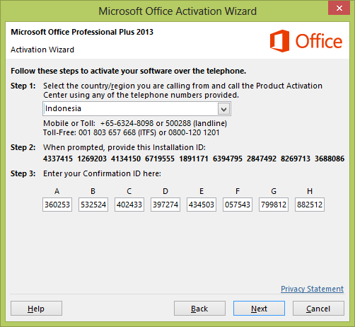 office professional plus 2013 activation wizard