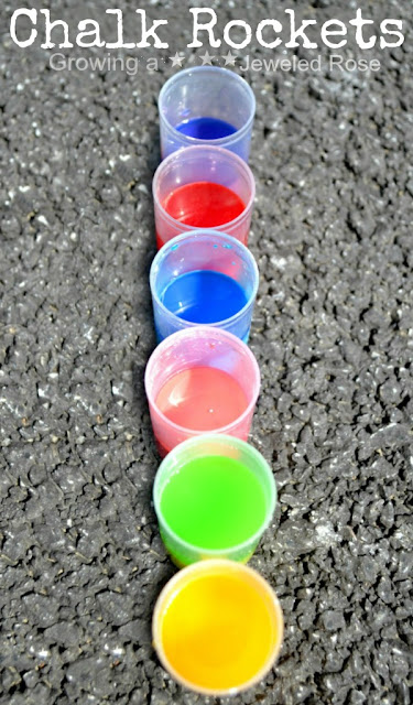Chalk filled rockets- the rockets fly high in the air, creating beautiful exploding art all over the pavement