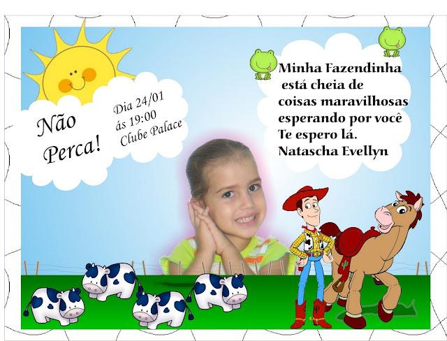 Convite Fazendinha Toy Story festa aniversário infantil