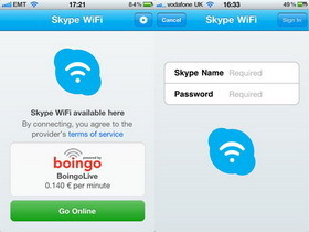 Skype WiFi iOS app for internet access on a per-minute basis