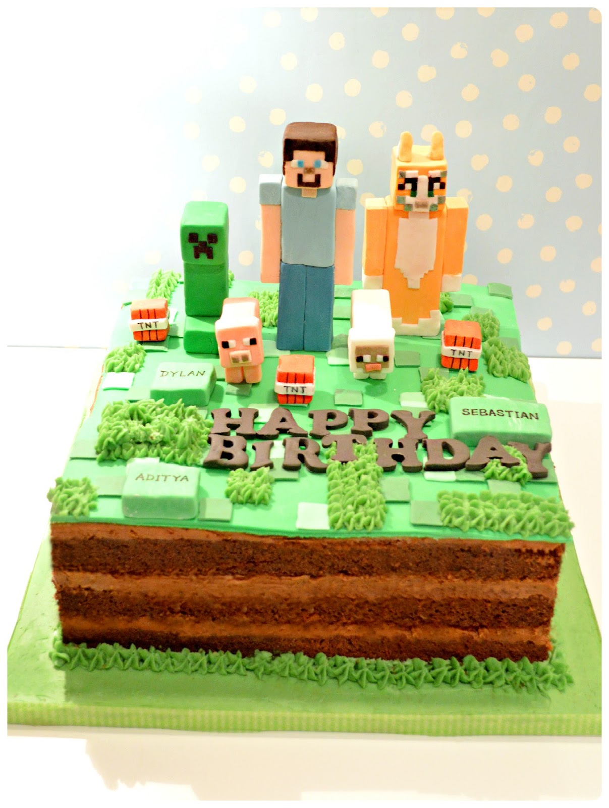 Minecraft Images For Birthday Cake : Minecraft Creepy, Steve and Stampy Cat Birthday Cake ...