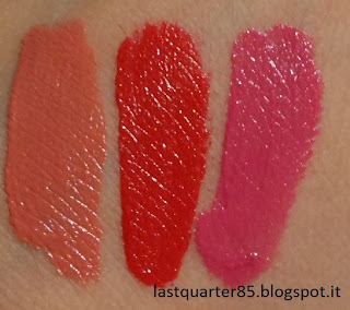 Essence Stay Matt Lip Cream: da sinistra 01 Velvet Rose, 02 Smooth Berry e Guerrilla Gardening Mission FLower.