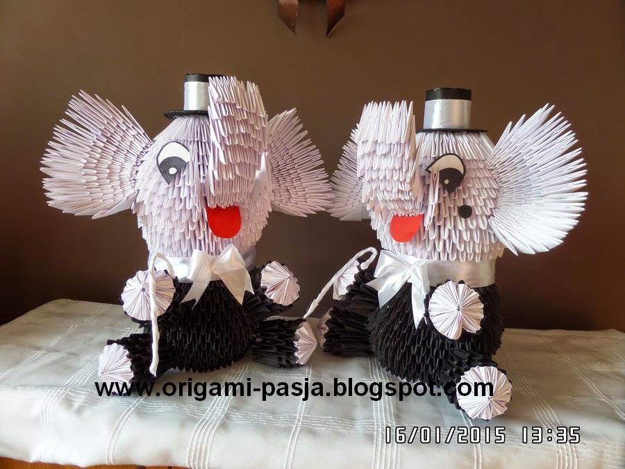 Bliźniaki - słonie origami modułowe.