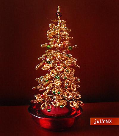 Como hacer un arbol de navidad con mostacillas enrhedando - Arbol de navidad de alambre ...