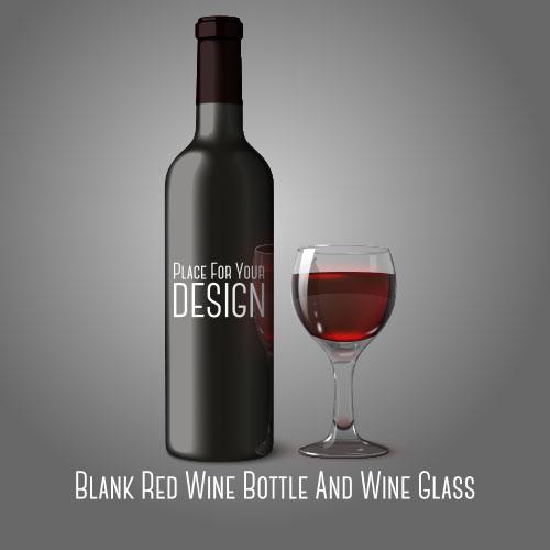 Botella y copa de vino con fondo gris - Vector