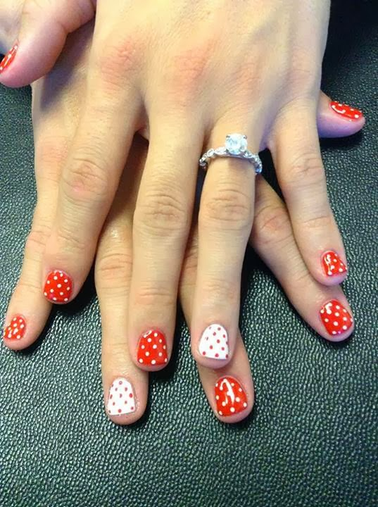 Natural Nails with LED polish manicure; acrylic backfill color up in ...