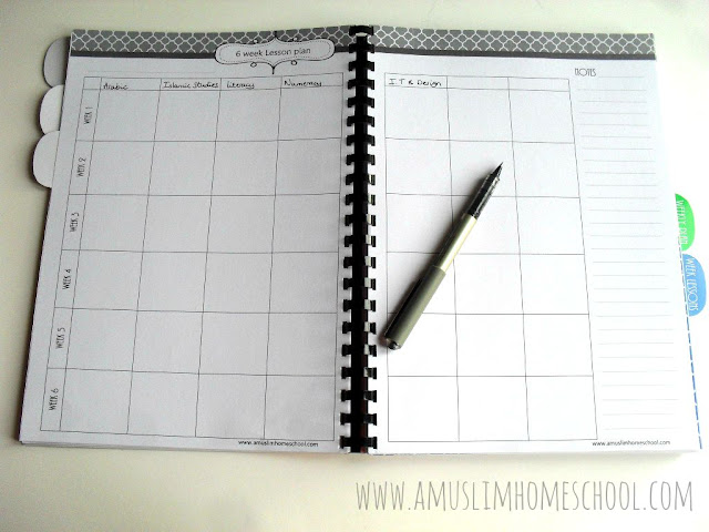 6 week lesson plan for the Home School Planner