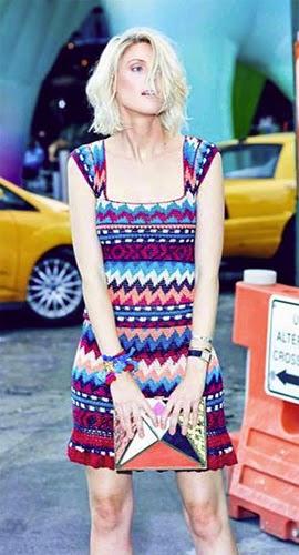 Vanessa Montoro coleção verão 2015 vestido crochê curto com estampa étnica