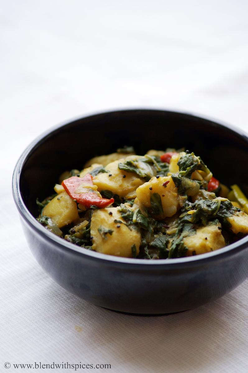 aloo saag recipe, how to prepare saag aloo, recipe for saag aloo, recipe of aloo saag