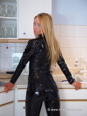 Delicious Ass in Black Latex Catsuit